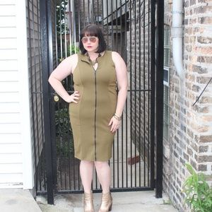 Asos Curve Olive Green Zip up Dress